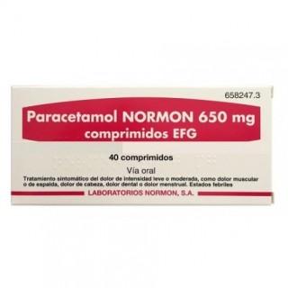 PARACETAMOL NORMON EFG 650 MG 40 COMPRIMIDOS