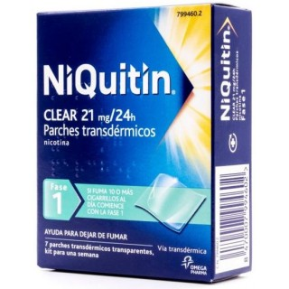 NIQUITIN CLEAR 21 MG/24 H 7 PARCHES TRANSDERMICOS 114 MG
