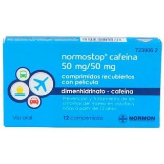 NORMOSTOP CAFEINA 50 mg/50 mg 12 COMPRIMIDOS RECUBIERTOS
