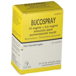 BUCOSPRAY 15 mg/ml + 0,5 mg/ml SOLUCION PARA PULVERIZACION BUCAL 1 FRASCO 25 ml