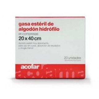 ACOFAR GASA ESTERIL ALGODON 20X40CM 20 UNIDADES