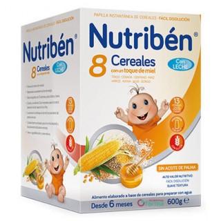 NUTRIBEN 8 CEREALES CON UN TOQUE DE MIEL CON LECHE ADAPTADA 600 G
