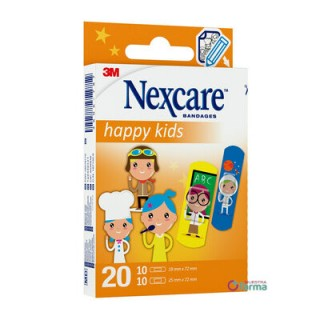 3M NEXCARE ACTIVE HAPPY KIDS APOSITO ADHESIVO PROFESSIONS 10 U 25 MM X 72 MM + 10 U 19 MM X 72